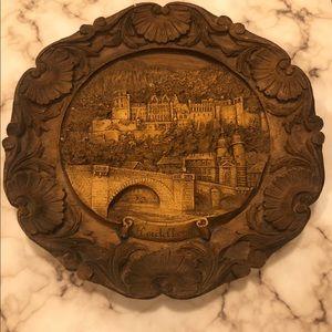 Vintage Wood Carved Plate German Heidelberg